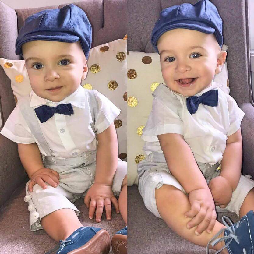 Cotton Drill School Boy Pants with Italian Linen Denim Bow Tie & Bowlers Hat