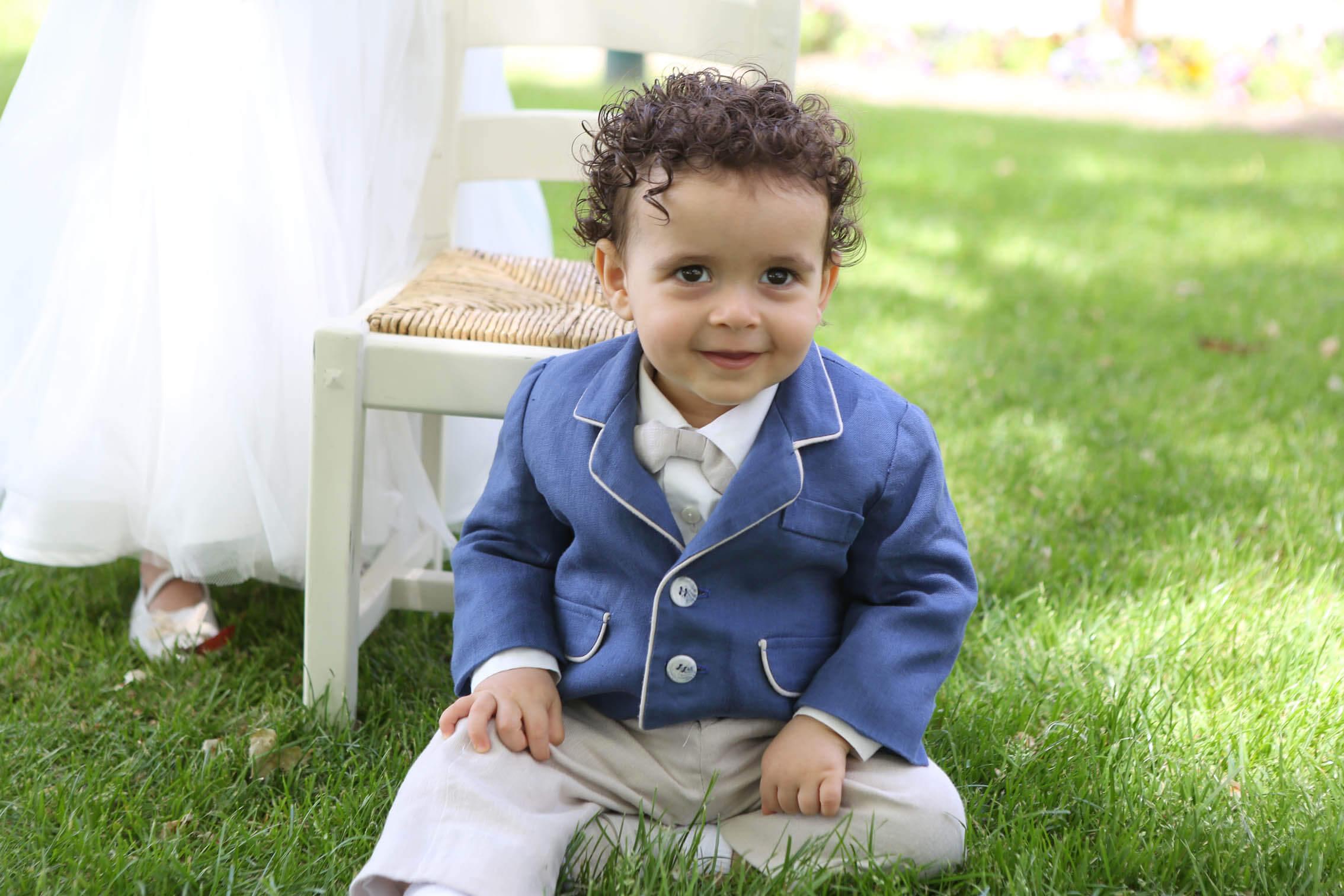 Italian Linen - Denim Jacket - Chalk Long School Boy Pants (a)
