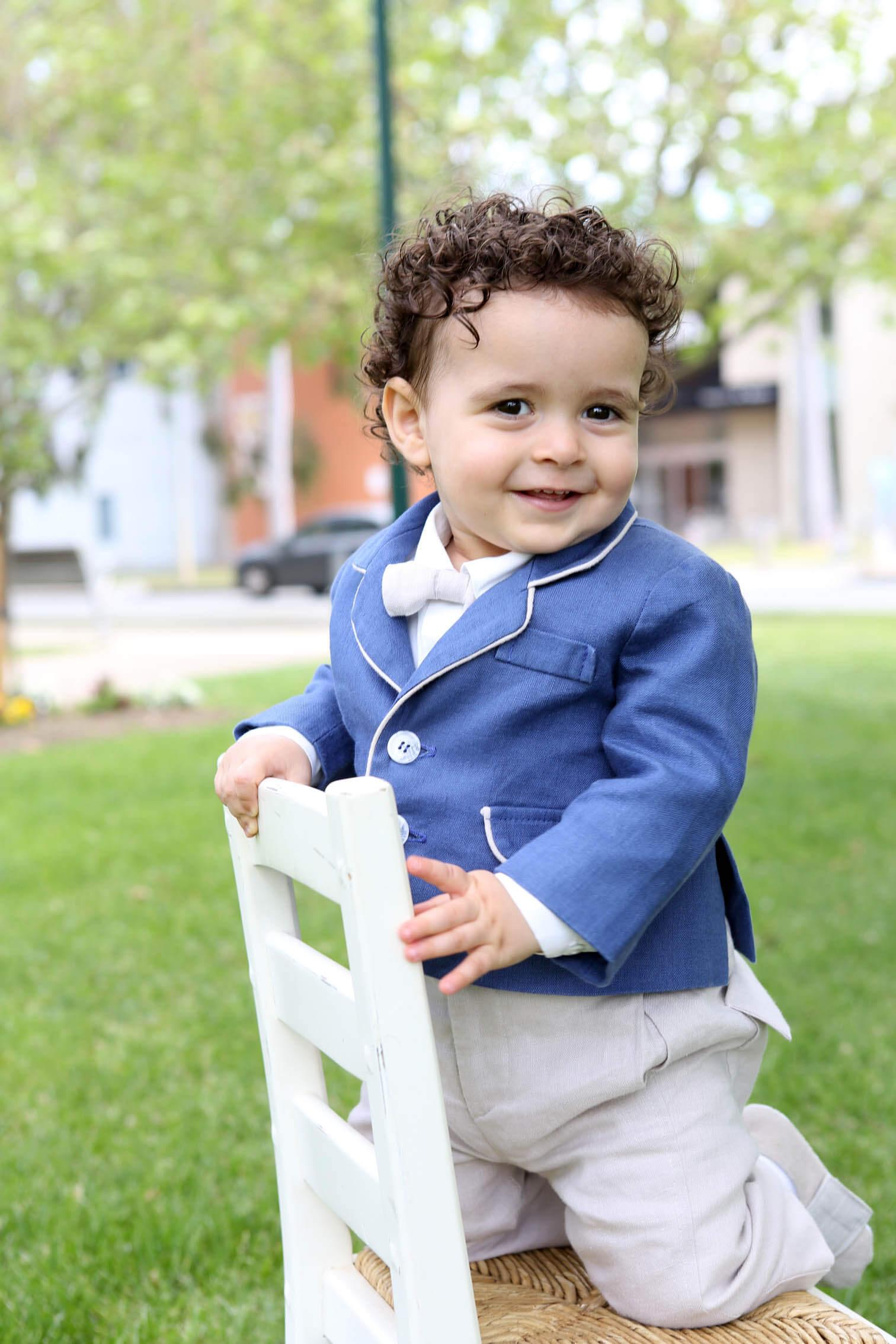 Italian Linen - Denim Jacket - Chalk Long School Boy Pants