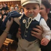 Italian Linen – Denim Vest with Chalk Piping and School Boy Pants with Bowlers Hat and Bow Tie