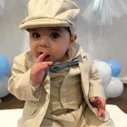 Italian Linen – Taupe School Boy Long Pants, Jacket , Vest and Bowlers Hat. Baby Blue Bow Tie