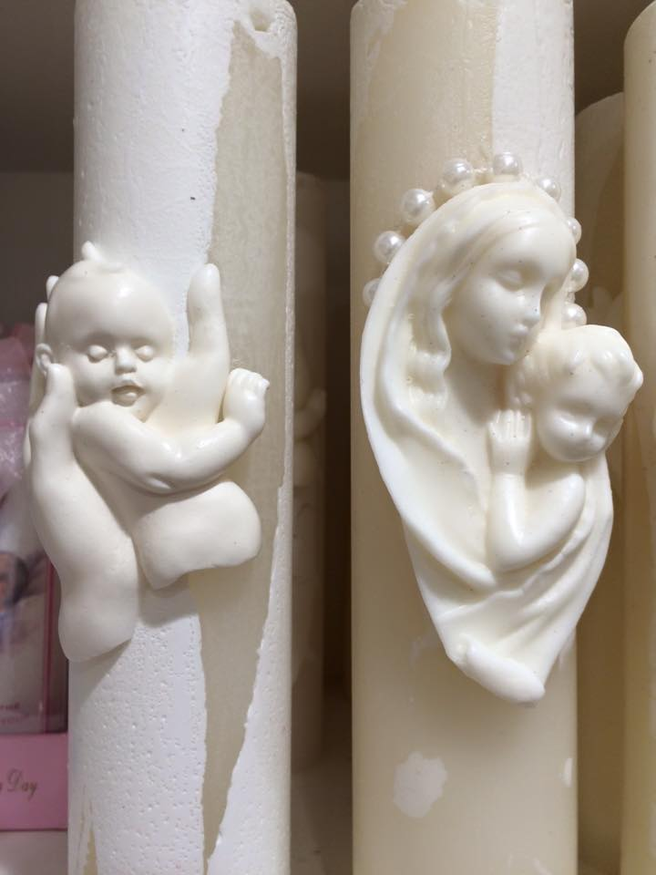Catholic Candles with Baby in Hand, Mary & Jesus