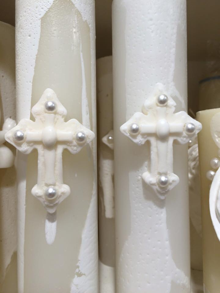 Catholic Candles with Cross & Pearl