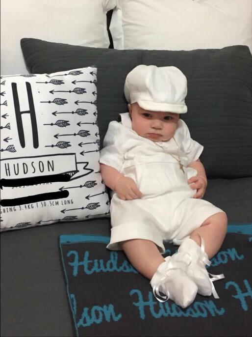 Italian Linen White Short Romper Booties & Hat