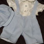 Italian Linen – Baby Blue Shorts with Bowlers Hat – Raw Silk Peter Pan Collar Shirt with Constrast piping