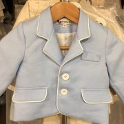 Italian Linen – Baby Blue with White Piping Jacket