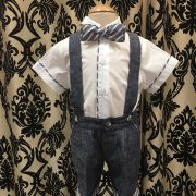 Italian Linen – Indigo Shorts with Contrast Cuff and Bow Tie and Shirt with Contrast Piping