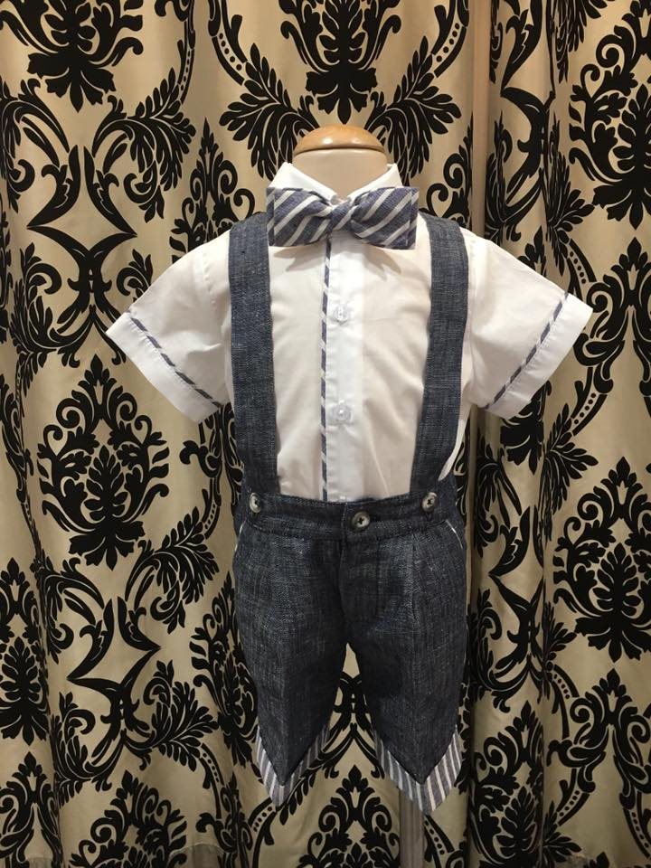 Italian Linen - Indigo Shorts with Contrast Cuff and Bow Tie and Shirt with Contrast Piping