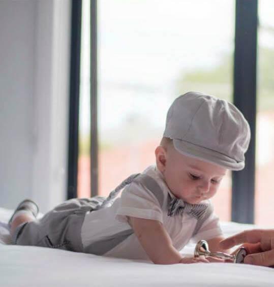 Italian Linen - Light Grey School Boy Pants, Bow Tie & Bowlers Hat