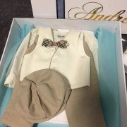 Italian Linen – Silk Linen Ivory Vest with Beige Piping Long School Boy Pants and Bowlers Hat. Burburry Inspired Bow Tie