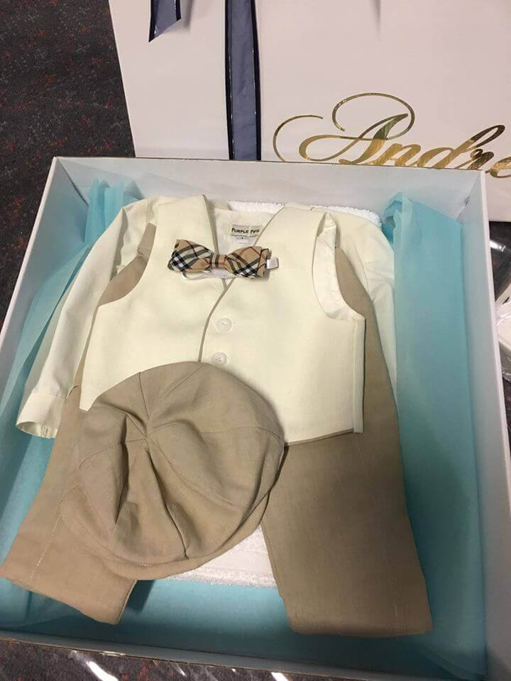 Italian Linen - Silk Linen Ivory Vest with Beige Piping Long School Boy Pants and Bowlers Hat. Burburry Inspired Bow Tie