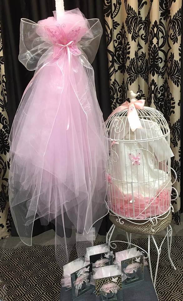 Candle 3 Layer Pink Tulle & Birdcage