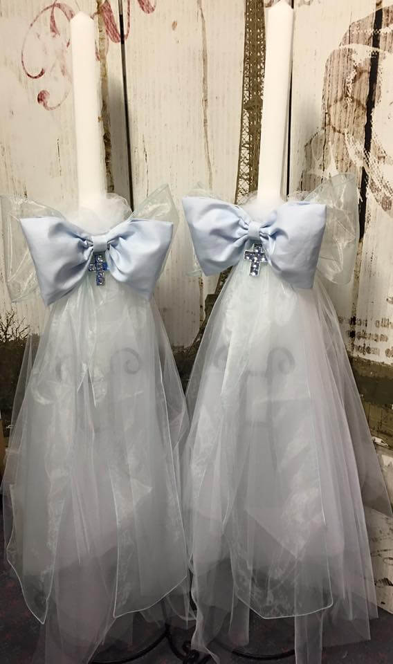Candle 3 Layer Tulle With Linen Bow
