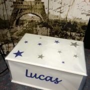 Personalised Rectangular Timber Toy Box – Stars (a)