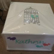 Personalised Square Timber Box – Birdcage & Birdie