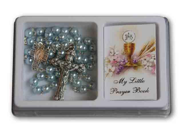 Rosary Blue Pearl & Prayer Book