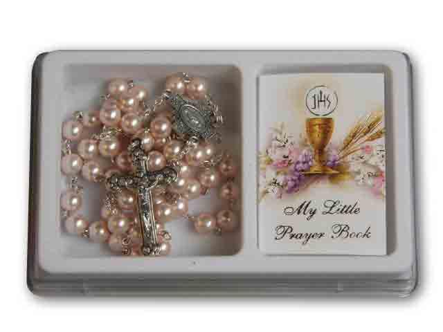 Rosary Pink Pearl & Prayer Book