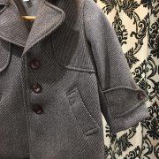 Wool Coat in Brown Stripe.