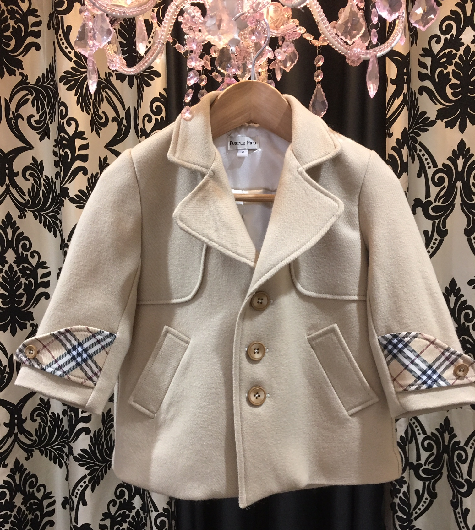 Wool Coat in Cream with Burburry Inspired Trimming...
