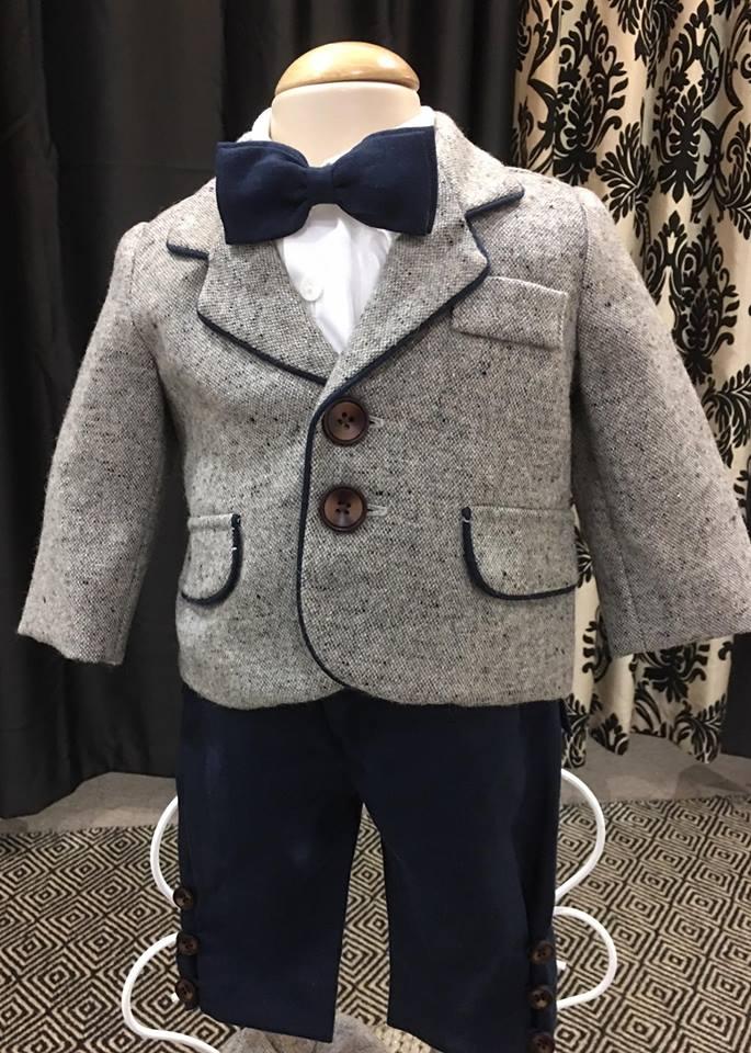 Wool Jacket (Grey-Navy) Italian Linen Navy Schoolboy ankle pants..