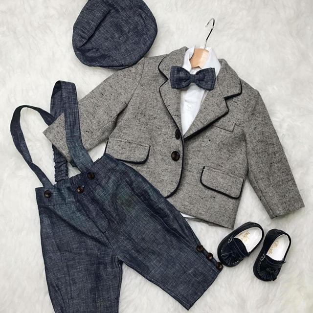 Wool Jacket (Grey-Navy) Italian Linen Navy Schoolboy ankle pants