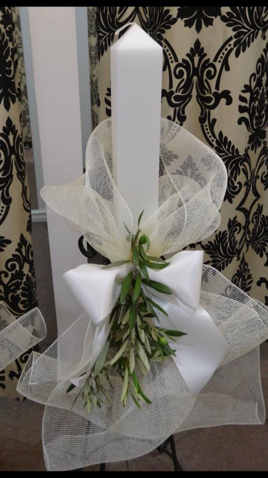 Square Candles with Ivory Mesh  Bow & Olive branch