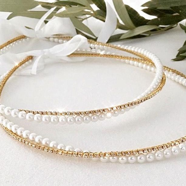 Stefana Gold Diamante & Pearls