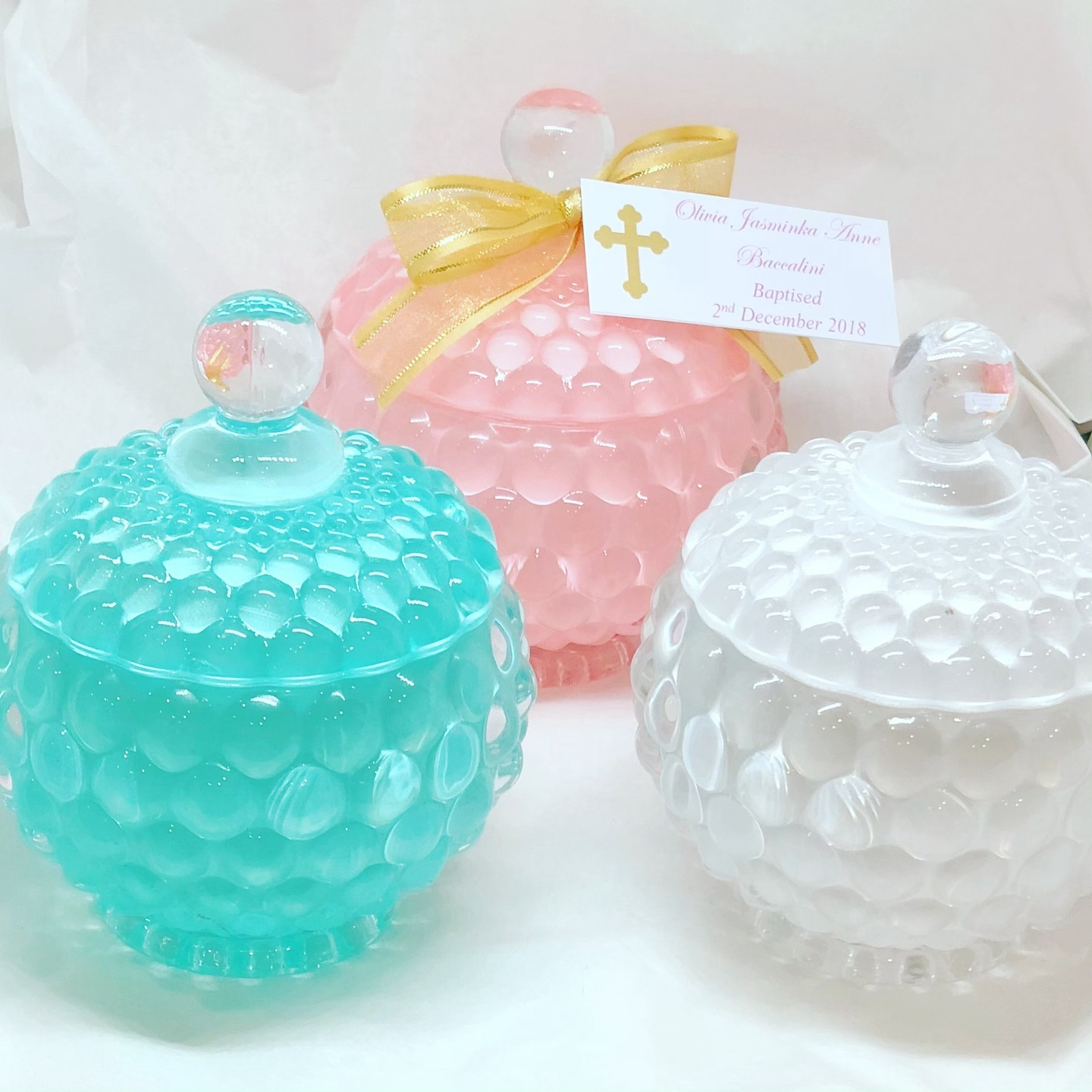 Bubble Jars Pink, Teal & White