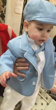 Baby Blue Linen Jacket With White Linen Pants 1