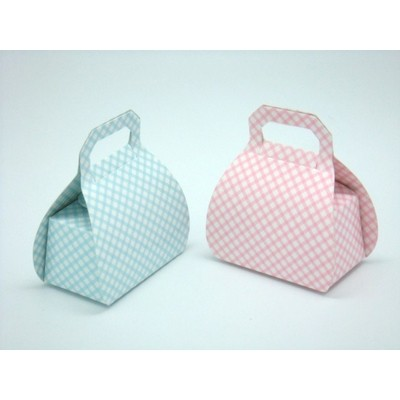 Box Blue or Pink Check Bag Style