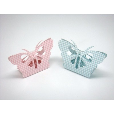 Box Blue or Pink Check Butterfly
