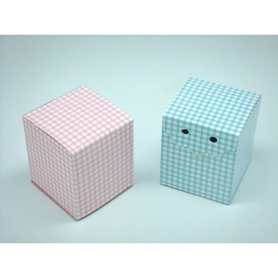 Box Blue or Pink Check Square Style