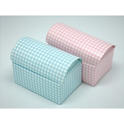 Box Blue or Pink Check Treasure Chest Style