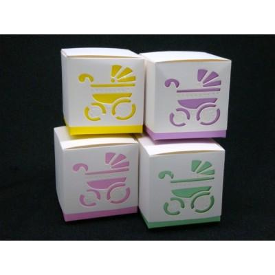 Box Pink Purple Yellow Green Laser Cut Pram