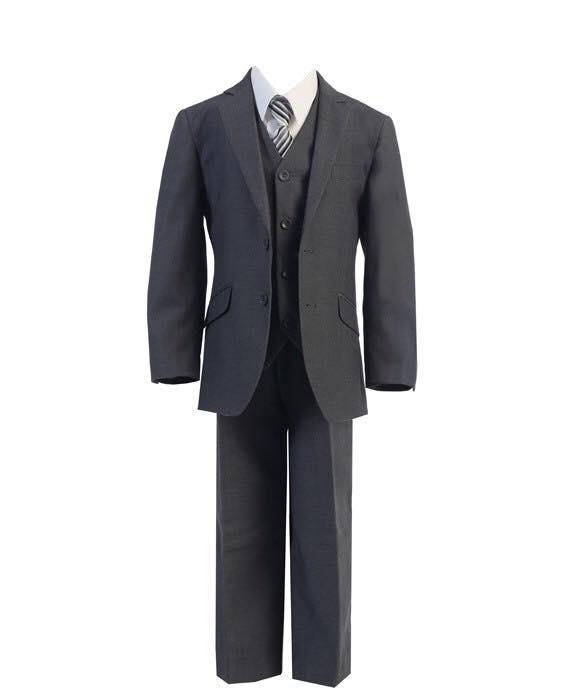 Boys 5 Piece Slim Fit Suit Charcoal