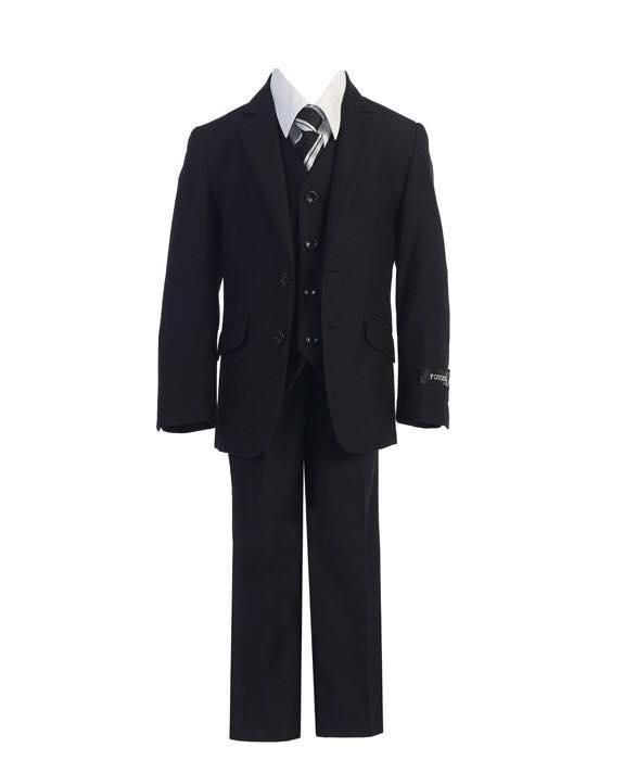 Boys 5 Piece Slim Fit Suit Black