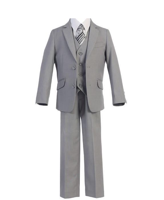 Boys 5 Piece Slim Fit Suit Grey