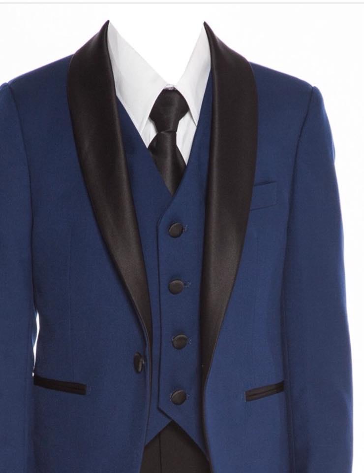 Boys Satin Lapel Slim Fit Suit Blue