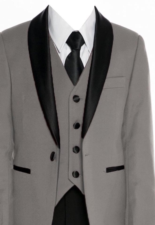 Boys Satin Lapel Slim Fit Suit Grey
