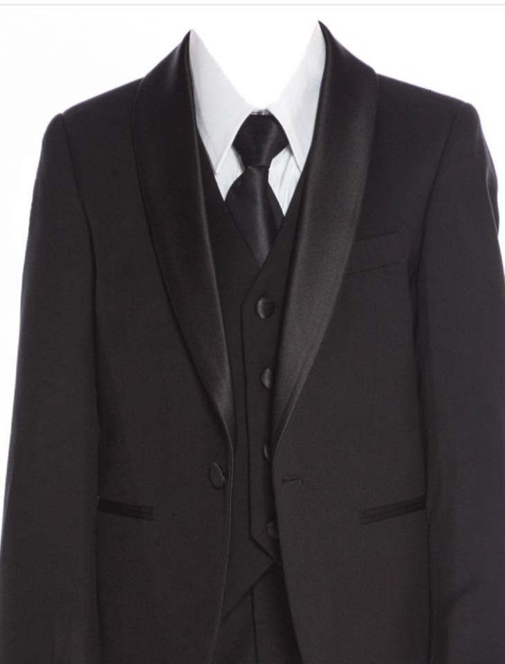 Boys Satin Lapel Slim Fit Suit Black