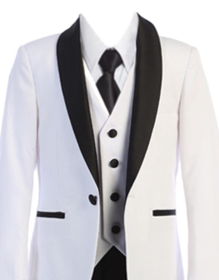 Boys Satin Lapel Slim Fit Suit White