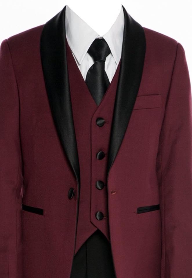 Boys Satin Lapel Slim Fit Suit Burgundy