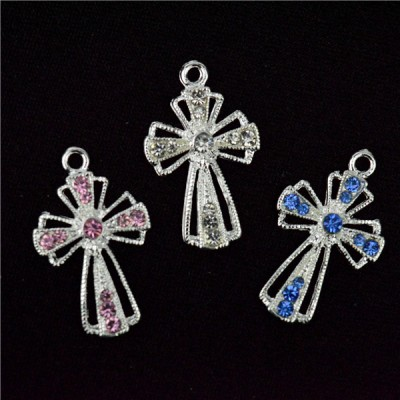 Charm Blue Clear Pink Diamante 3cm Cross