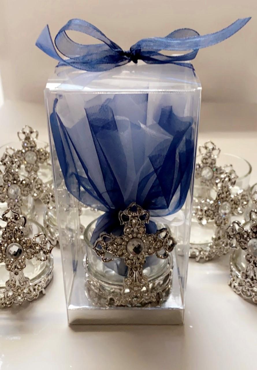 Cross Silver Diamante Tealight