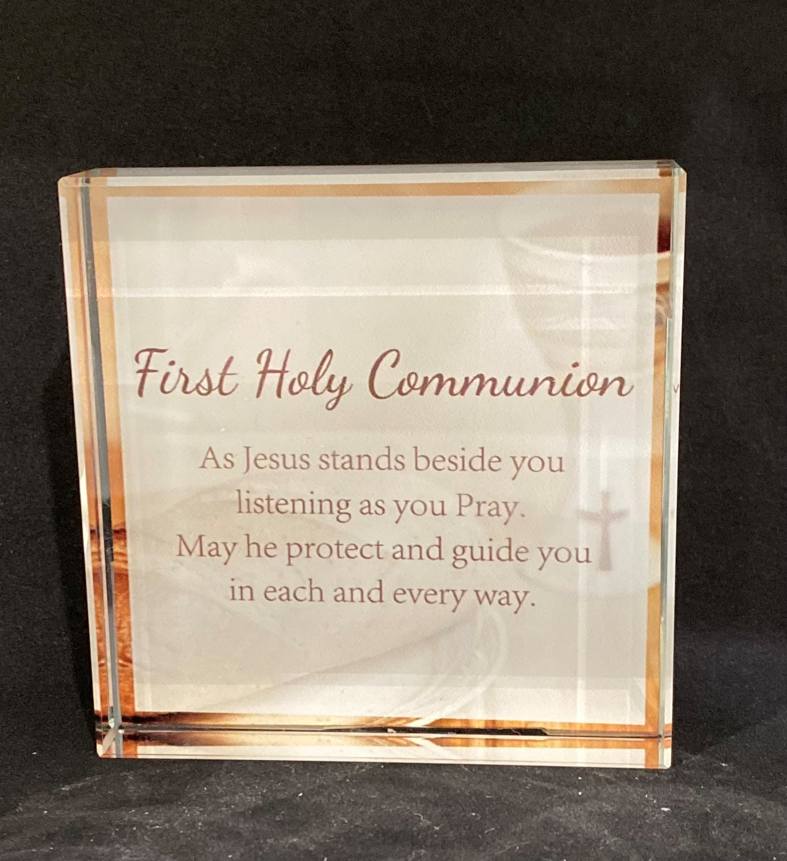 First Holy Communion Glass Block
