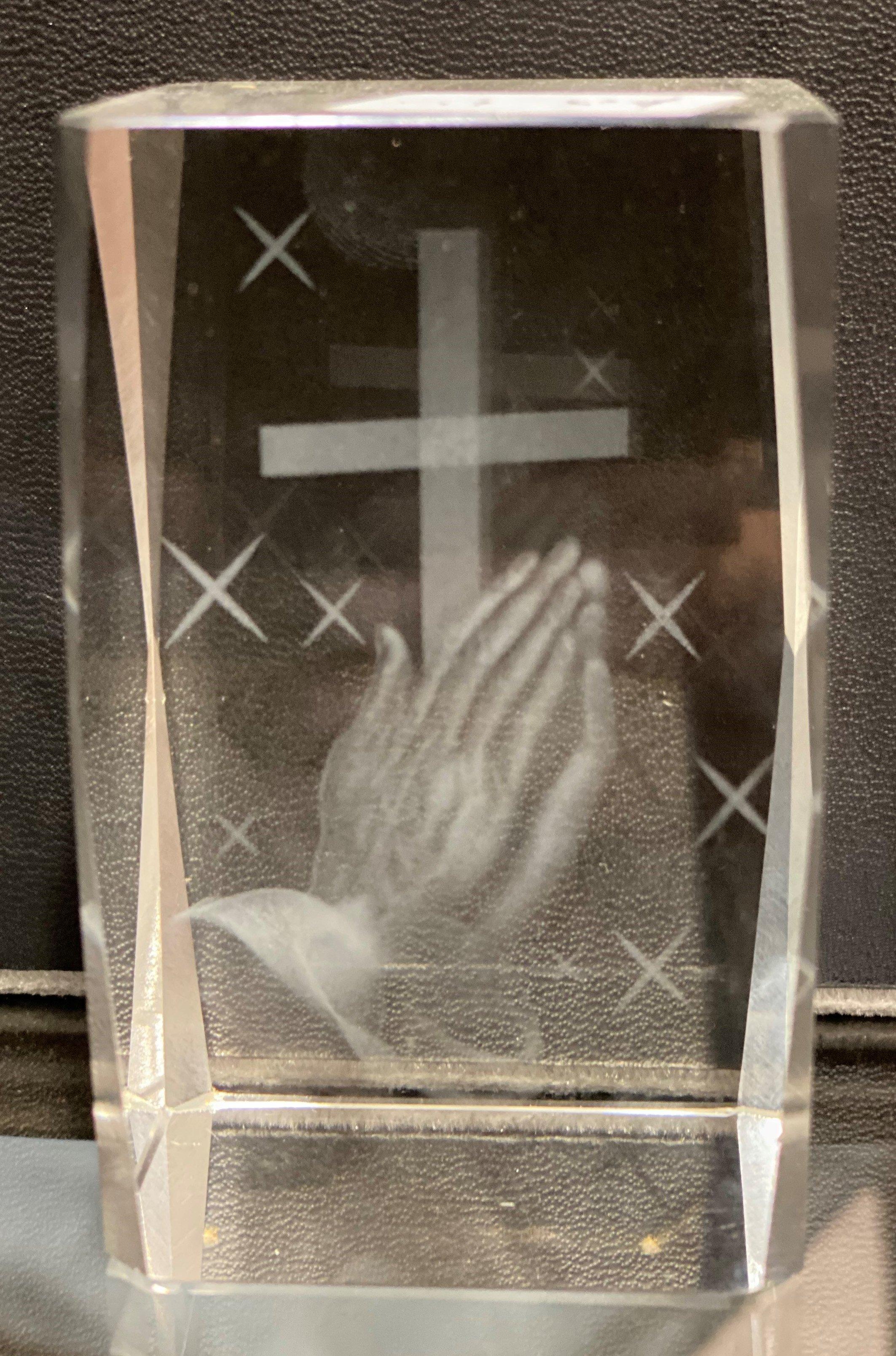 Glass Block Cross Praying Hands