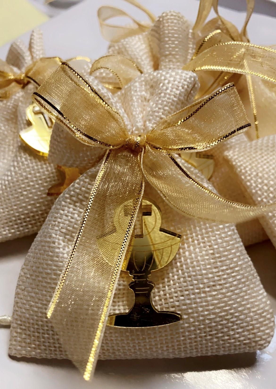Gold acrylic chalice on linen Bag