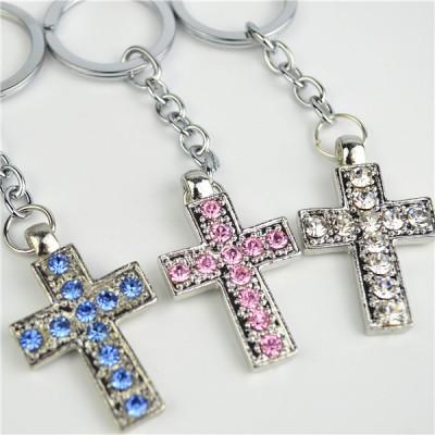 Keyring Blue Pink Clear Diamante Cross