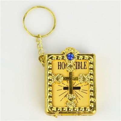 Mini Bible Blue Stone Gold Keyring