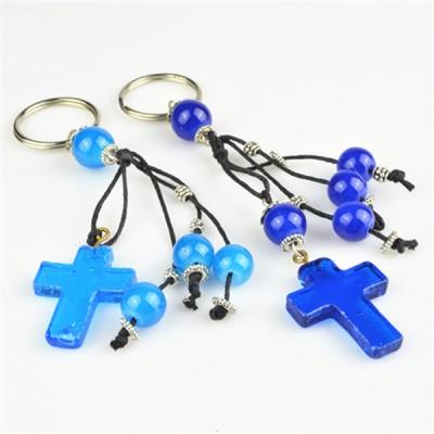 Keyring Beaded Light Blue and Dark Blue Cross